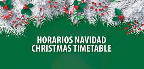 Christmas timetable